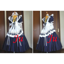 Envío gratis sexy sissy maid largo dress bloqueable cosplay uniforme hecho a medida