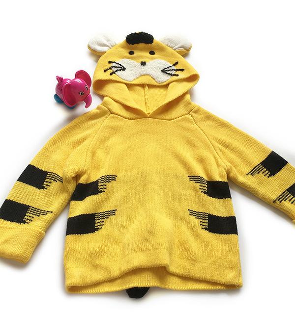 Otoño Pequeños Suéteres Tejidos de Punto de Algodón Para Niños Traje de Tigre Patrón de los Bebés de la Rebeca Niños Encapuchados de Manga Larga Jumper Ropa