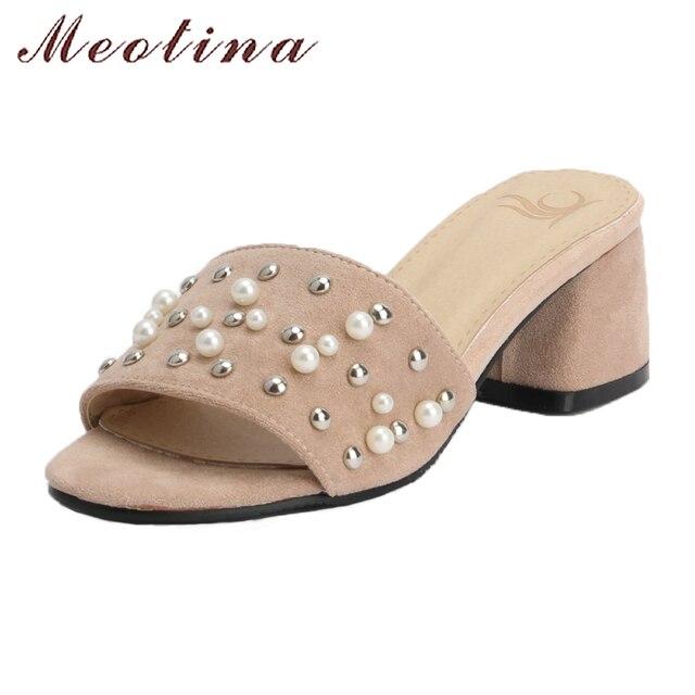 Meotina/Женская обувь; сезон лето; шлепанцы без задника с открытыми пальцами; женские босоножки 2018 женская обувь на высоком блочном каблуке с жемчугом; обувь на шпильке тапочки бежевый, розовый сандалии большой размер 42, 43