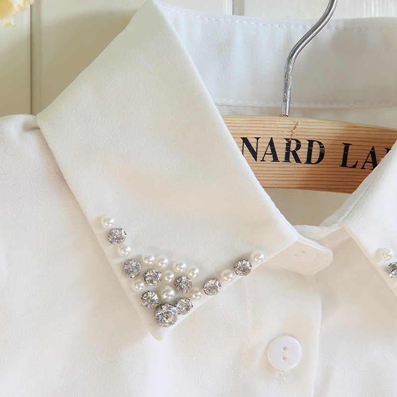 เสื้อกันหนาว Fake Collar ขายส่งเกาหลีแฟชั่นฤดูใบไม้ร่วงฤดูหนาวไข่มุกเพชรคริสตัลชีฟองผู้หญิงสีขาวเสื้อปลอม