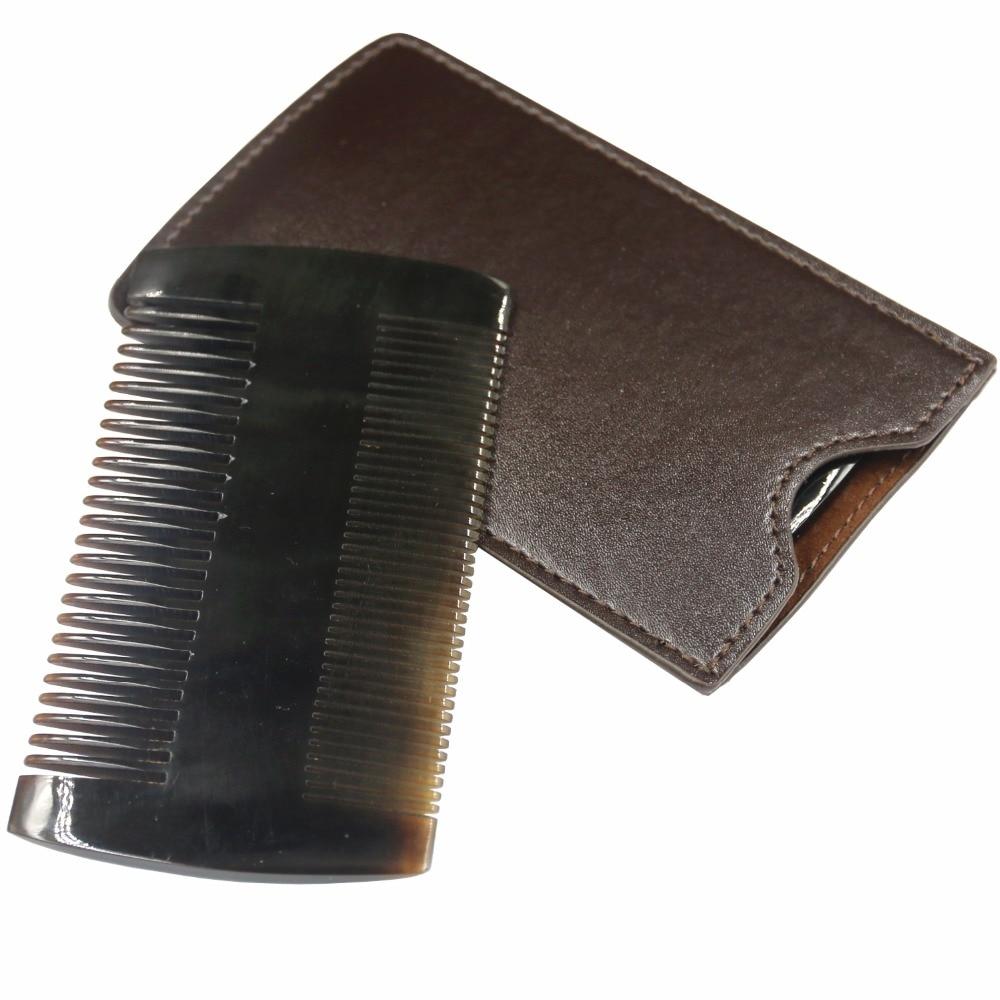 Sereseng Black Buffalo Horn Beard Comb Anti-Static Pocket Comb Brush Mustaches Brush Portable Black Ox Horn Comb