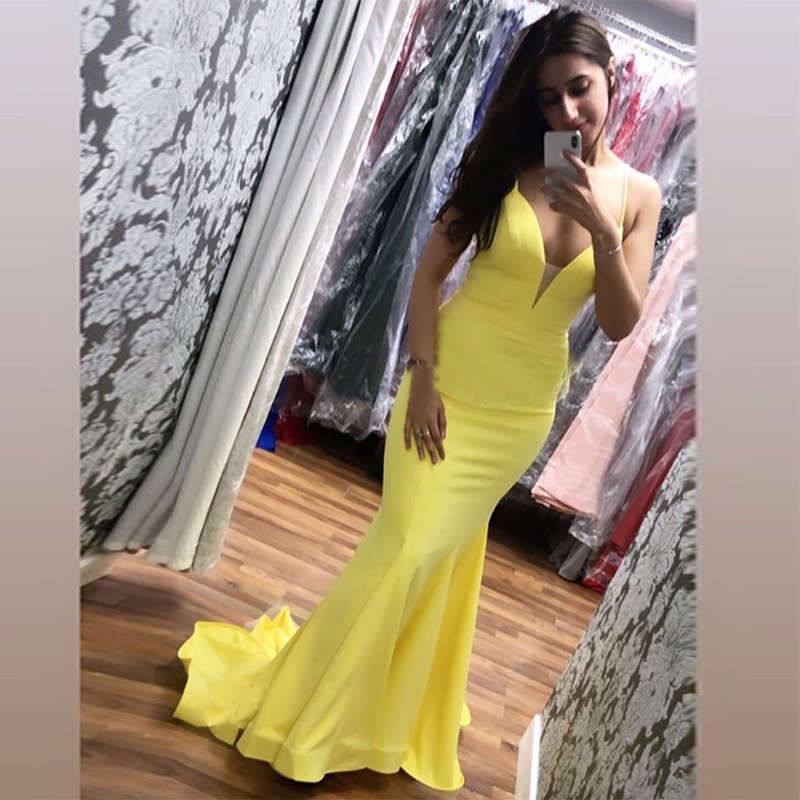 Sexy V-neck Long   Prom     Dresses   Mermaid Style Yellow Satin 2019 New Simple Spaghetti Straps Women Formal Party Gowns Sweep Train