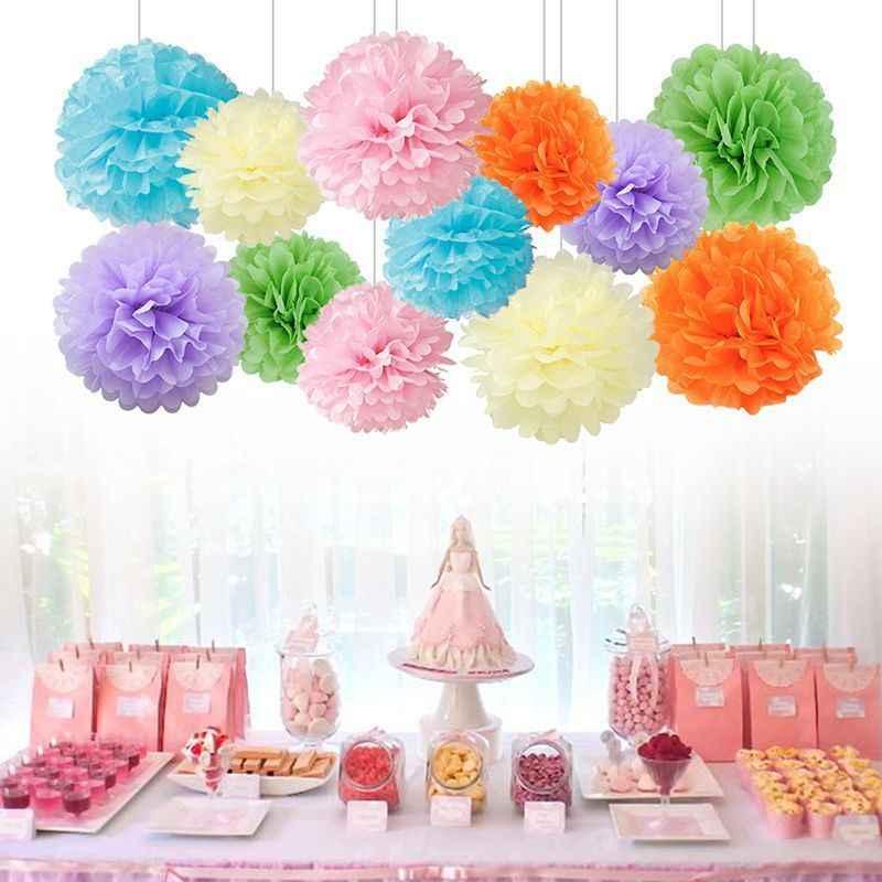 1 PC 6 Inch 15 Cm Buatan Tangan Kertas Tisu Pom Pom Kertas Bunga Bola Pom Pom untuk Home Garden Pernikahan Ulang Tahun & Pernikahan Mobil Dekorasi