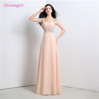 Peach 2018 Prom Dresses A Line Cap Sleeves Floor Length Chiffon Beaded Long Women Prom Gown