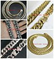 "13/15mm Heavy 316L Stainless Steel Silver Gold Men Cuban Chain Necklace&Bracelet jewelry 7""-40"" Free Choose With Flower Buckle"