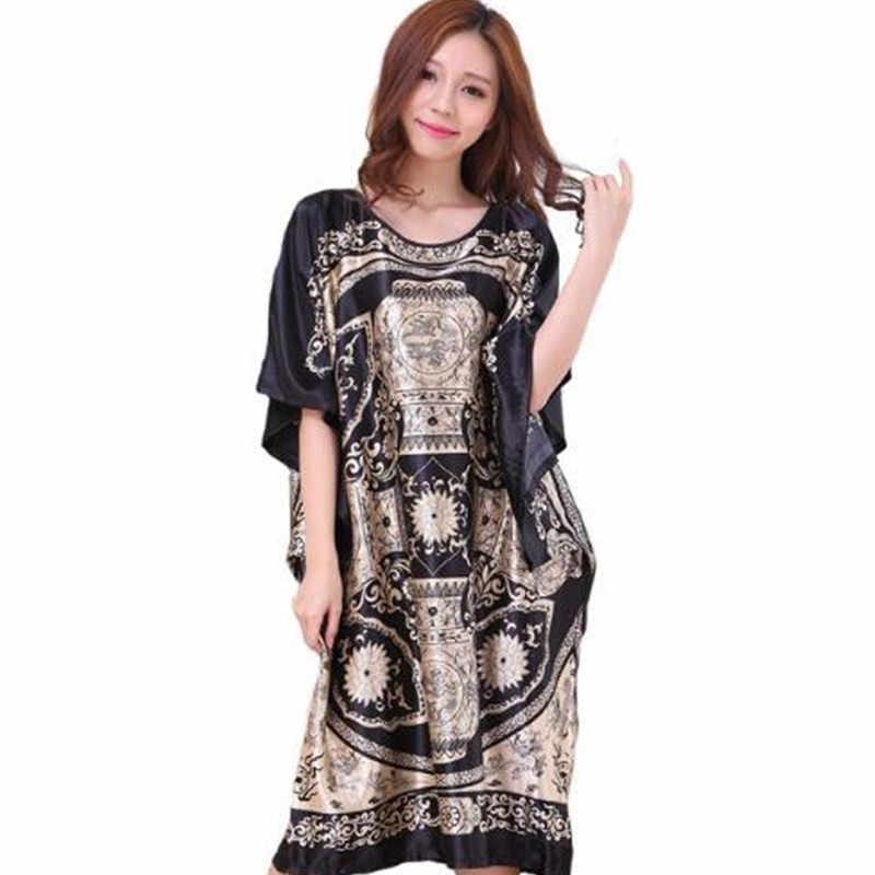 ผู้หญิงสีดำชุดอาบน้ำ Kimono ผ้าไหมเรยอนชุดสไตล์จีนชุดนอนหลวมๆชุดนอนดอกไม้