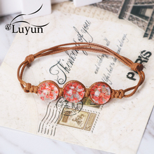 Luyun Bracelet Female Plant Dried Flower Glass Adjustable Rope Bohemian Ethnic Necklace Wholesale