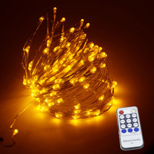 Remote Control  20m 200 led Copper Wire Christmas Fairy Lights Warm White LED String Light Starry Lights +AC Adapter 165ft 50m 500 leds 8 colors copper wire led string lights starry lights christmas fairy lights 12v power adapter remote control