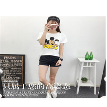 2017 Korean Women Mickey Mouse T-shirts Girls Casual Lady Top Tees Cotton T-shirt Female Brand Clothing Flower Printed Tops