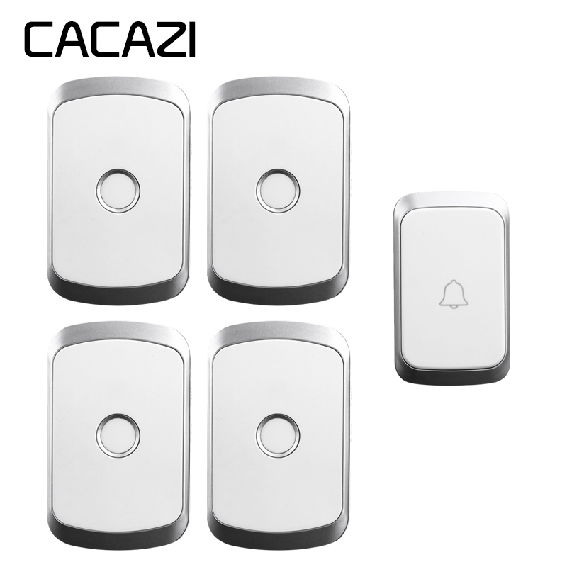 CACAZI Wireless Doorbell Waterproof 1 Battery Button 4 Receiver 300M Remote LED Home Cordless Bell EU Plug 36 Chimes 4 Volume cacazi wireless doorbell waterproof 2 battery buttons 1 receiver 300m remote led light home cordless bell 36 chimes 4 volume