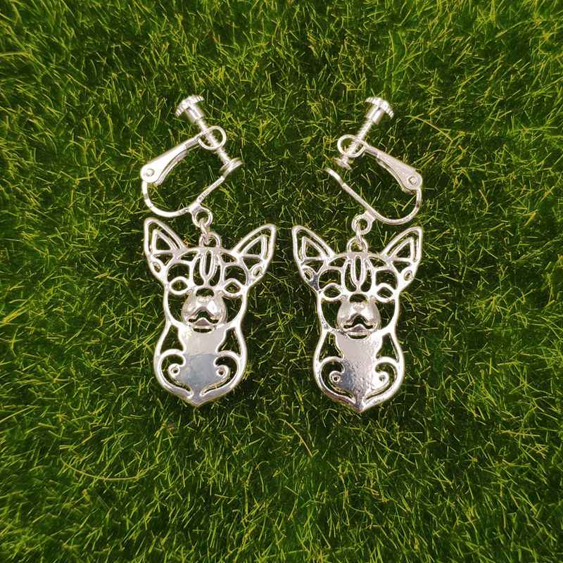 2019 Dog Animal Ear clip No Ear Hole Earrings Chihuahua Husky Pit Bull Dachshund Dalmatian Silver Gift Party Fashion 12 Styles