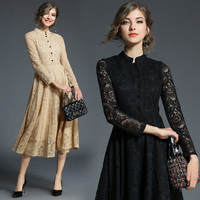 Women Clothing Europe Style 2018 New Spring Autumn Fashion Button Lace Dress Vintage Solid Color Stand