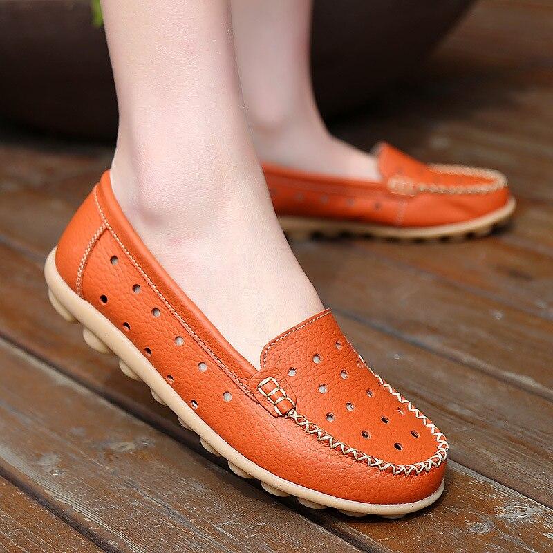 En Mode Femmes Cuir Automne Mocassins Printemps Plates Chaussures Appartements rouge Casual Souple orange 24 1 blanc Noir Mère Véritable 5YqXfvxv