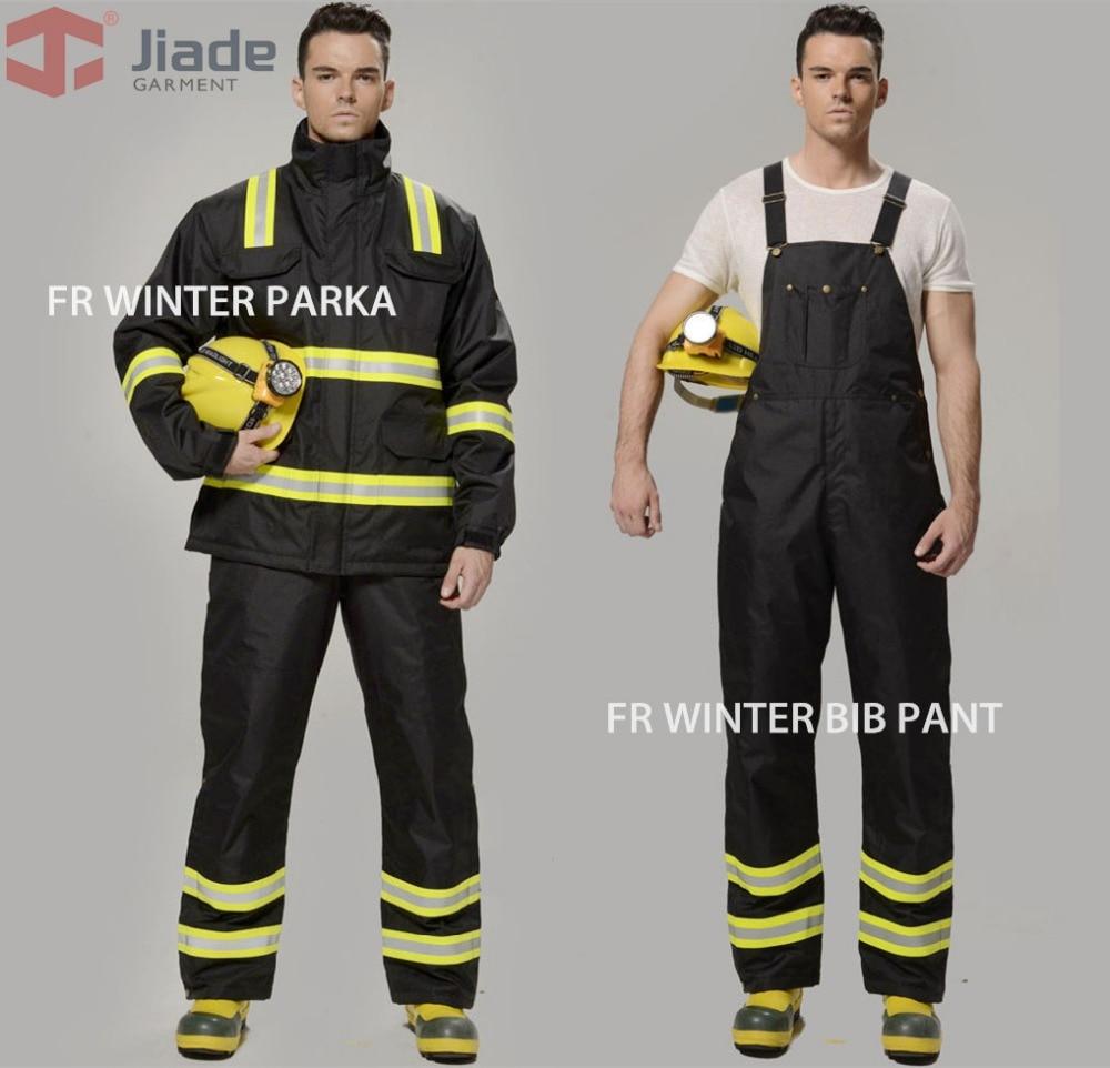 Jiade Reflective Winter Jacket Flame Resistant Winter Parka Bunker Clothing Fireman Uniform Firefighter Uniform