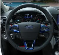 STEERING WHEEL TRIM DECAL SEQUINS COVER TRIM INTERIOR STICKER FOR FORD KUGA ESCAPE 2017 2018 ACCESSORIES CAR STYLING 3pcs