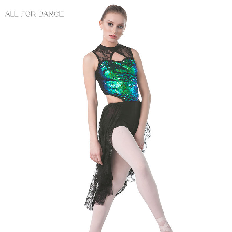 New Green sequin Top Bodice with black lace Lyrical Dance Costume Women Ballet Costume Dance Dress Girl Dance Costumes image