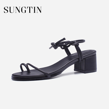 Sungtin New Arrival Women Sandals Fashion Chic Lace-Up Mid Chunky Heels  Summer Lady Shoes 243dda389ceb