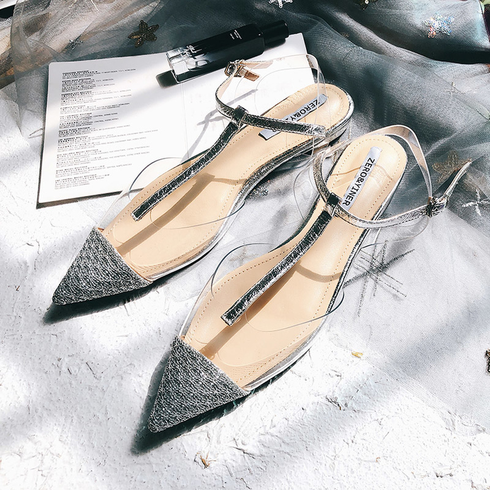 2019 Summer New Transparent Sequins Flat Bottomed Pointed Baotou Sandals Sexy Mature Fashion Comfort Sweet Cute Wild