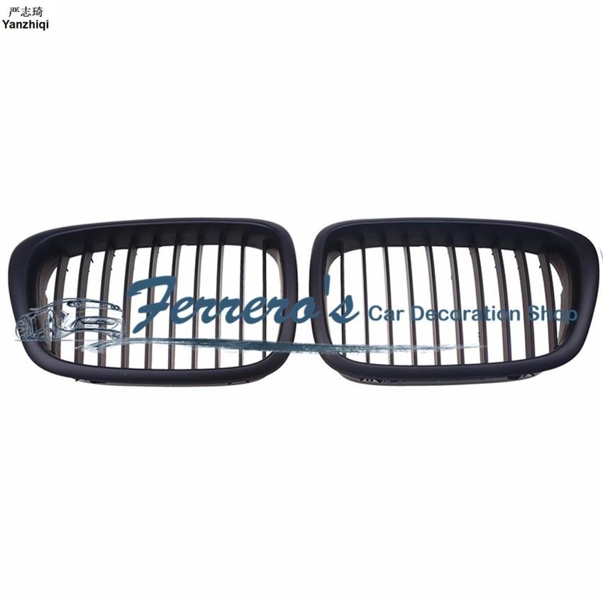 2pcs/lot For BMW E39 5 Series M5 1999-2003 Modification Matte black Bumper Kidney Front Grill Grille Wholesale