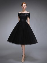 robe de soriee Off the Shoulder Lace Tea-Length Black Formal Dresses For Evening Prom Party Gowns Vestido De Festa Customed