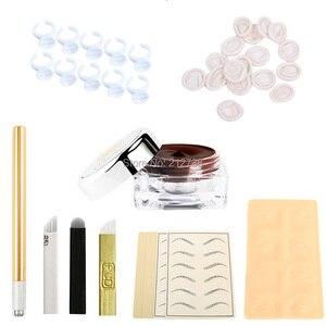 Image 5 - Microblading Người Học Bộ Dụng Cụ Cho E \ Xăm Chân Mày Permanet Trang Điểm Làm Đẹp Với 30 Kim Lưỡi Dao 5 Chiếc Practise Skin1 Sâu cà Phê Dán