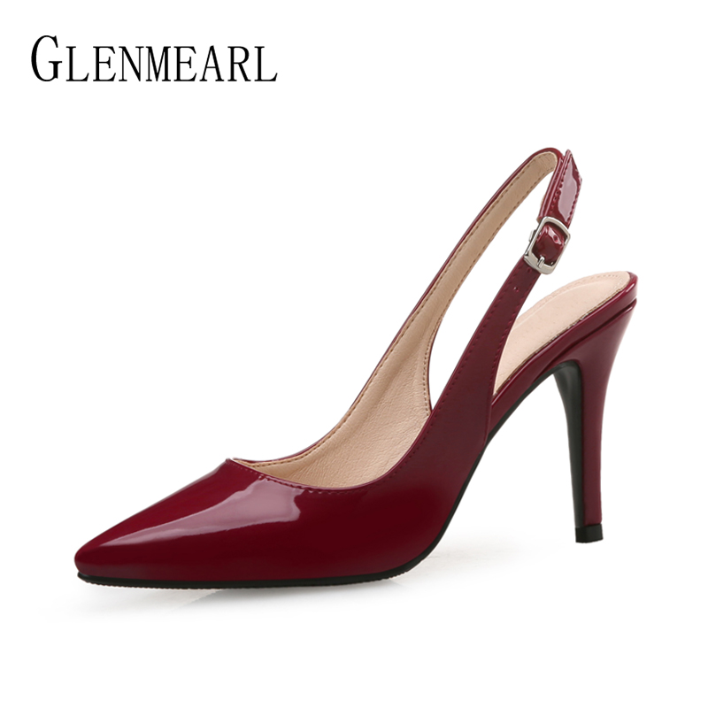 Women Pumps High Heels Shoes Leather Spring Party Shoes Woman Pointed Toe Office Lady Dress Shoes Brand Thin Heel Plus Size 2019