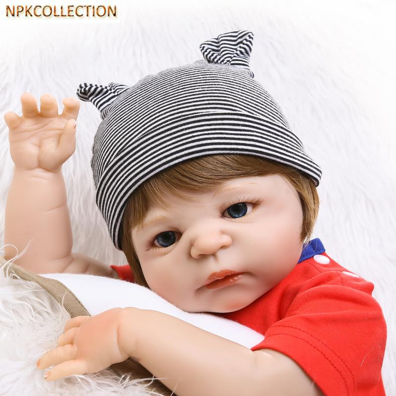 NPKCOLLECTION 52CM Full Silicone Dolls Reborn Baby Born Doll 18 Inch Realistic Newborn Baby Alive Boy Doll Kids Playmate Gift npkcollection 52cm full body silicone reborn dolls babies alive bonecas newborn girl baby doll toys for kids christmas xmas gift