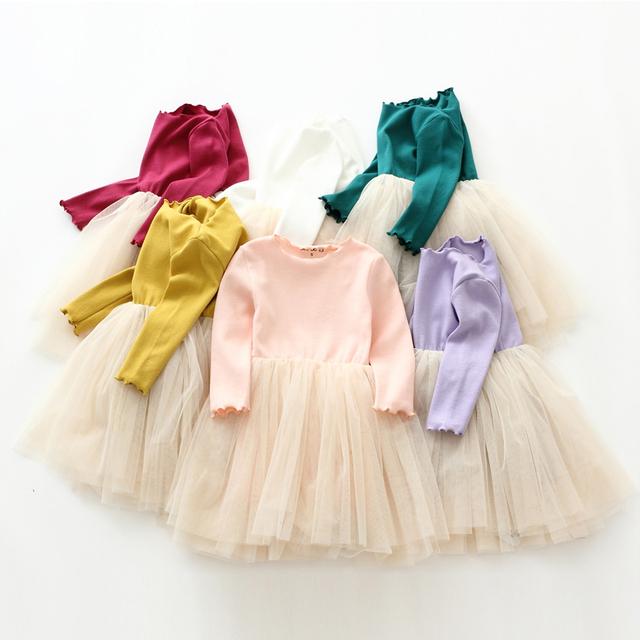 Para la Primavera y el Verano los niños vestido Lleno Solid Vestido lindo para 2-8Ygirls