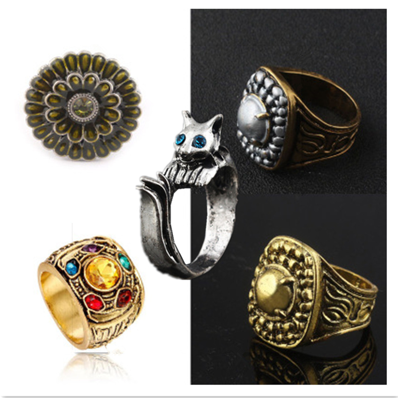 Game DARK SOULS III Harvell Silver Cat Ring Avengers: Endgame Thanos Infinity Stones Ring Cosplay Accessories Badge