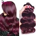 # 99j Onda Do Corpo Do Cabelo Virgem Peruano 3 Pcs Ela Cabelo Peruano Onda Do Corpo 100% Extensões de Cabelo Humano Peruano Borgonha Feixes de cabelo