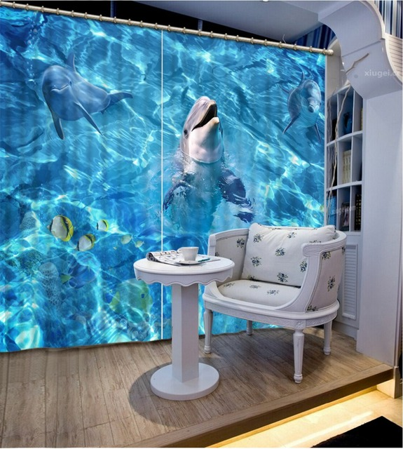 Modern Style Dolphin Ocean Curtains For Living Room Bedding 3D Home Decoration