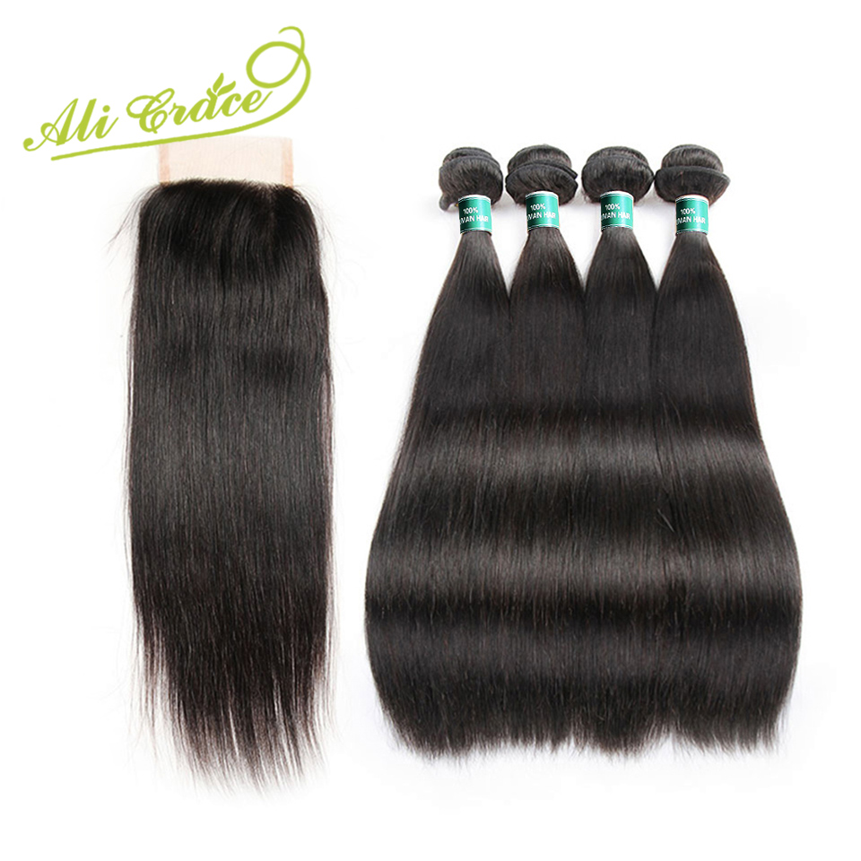 Ali Grace Malaysian Straight Hair 3 Bundles With Closure Natural Black Machine Double Weft Remy Human