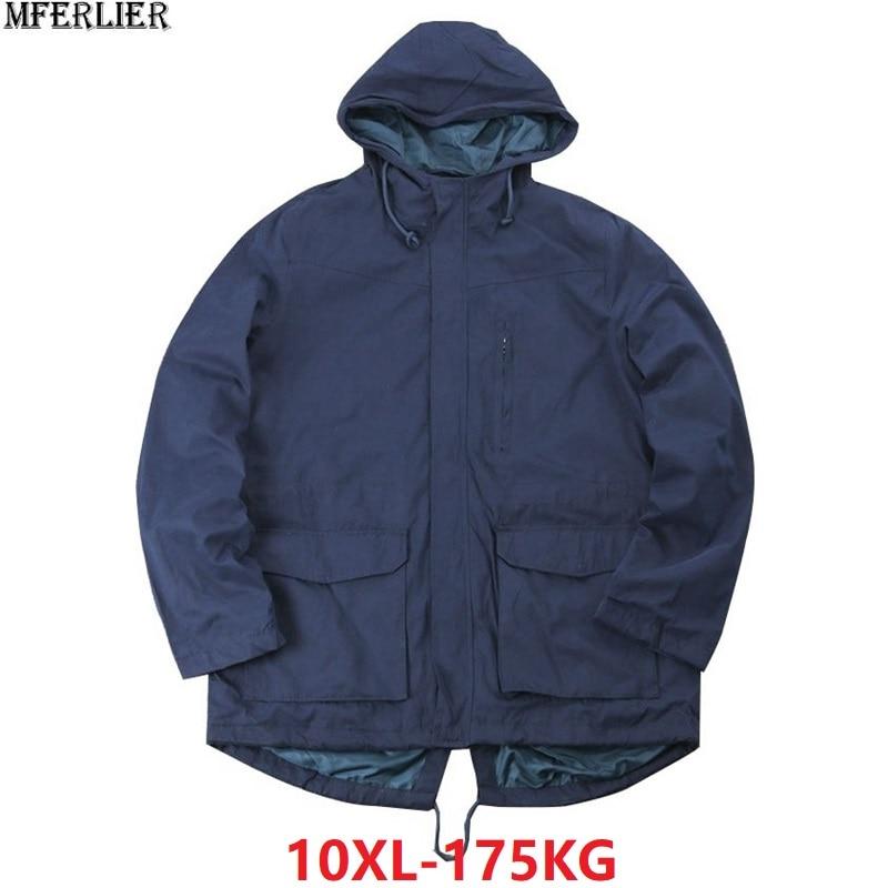 Hommes vestes à capuche manteau hiver trench grande taille grand 7XL 8XL 9XL 10XL bleu lâche grandes vestes zipper poche lâche outwear 150 KG-in Vestes from Vêtements homme    1