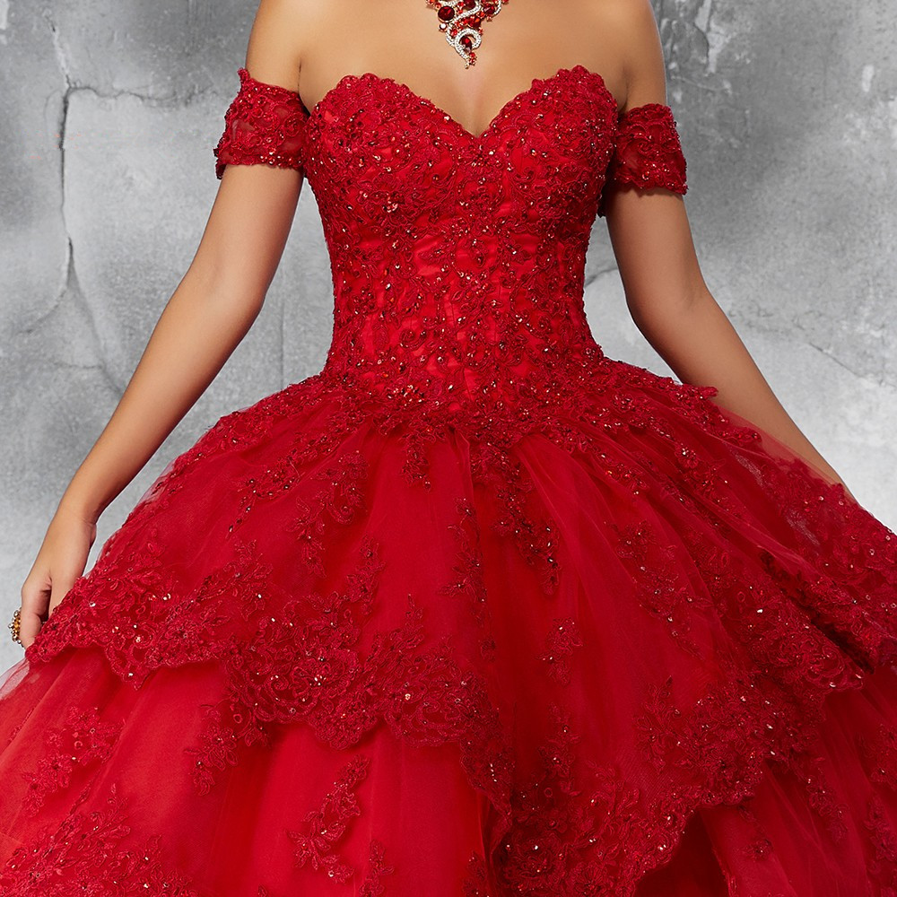 Image 3 - JaneVini Luxury Princess Ball Gown Red Quinceanera Dresses Sweetheart Appliques Heavy Beaded Pageant Prom Gowns Vestidos 15 AnosQuinceanera Dresses   -