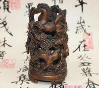 Медь латунь китайский ремесла Decor Ation Азии китайские бронзовые скачущей лошади ваза горшок Карандаш Pen дело Королевский статуя