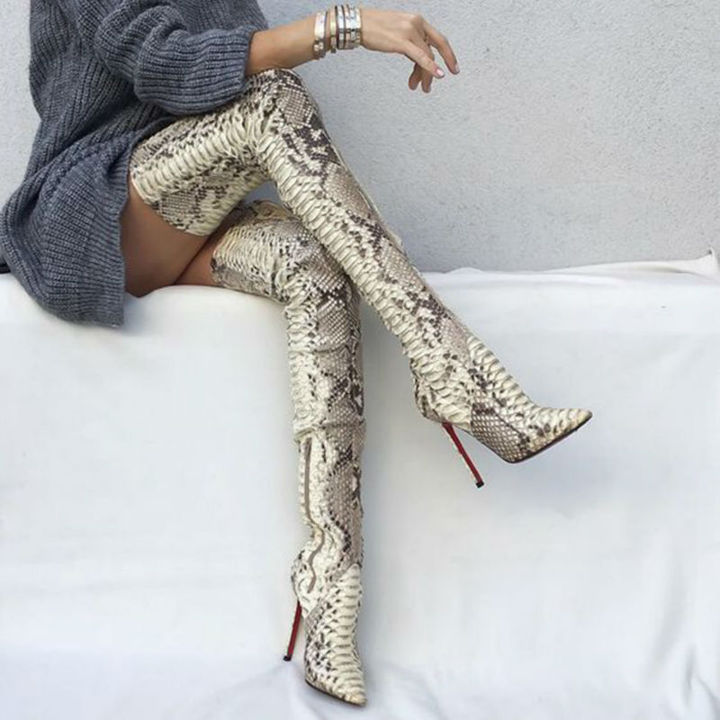 Snakeskin Women Boots New Fashion Pointed Toe High Heels Over The Knee Boots Sexy Snake Pumps Lady Side Zipper Long Boots new fashion women shoes pointed toe patent leather lady high heel boots for women sexy over the knee boots nightclub pumps