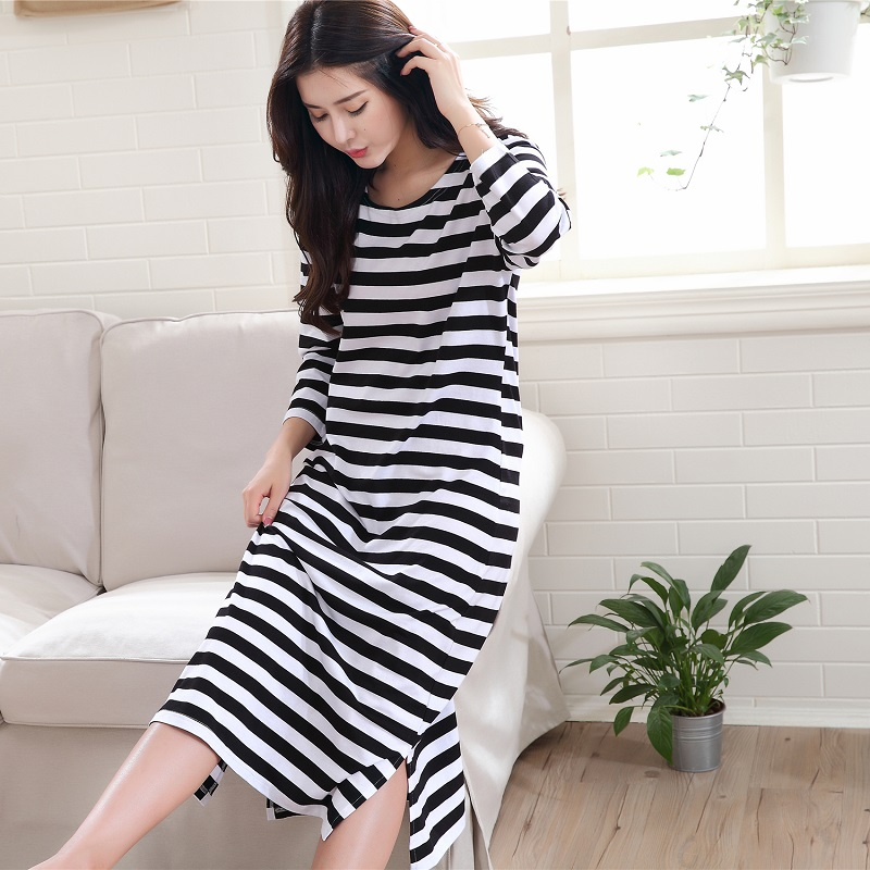 Women cotton Nightdress striped sleepshirts long sleeve sleepwear stripes nightgowns casual home clothing long dress plus size