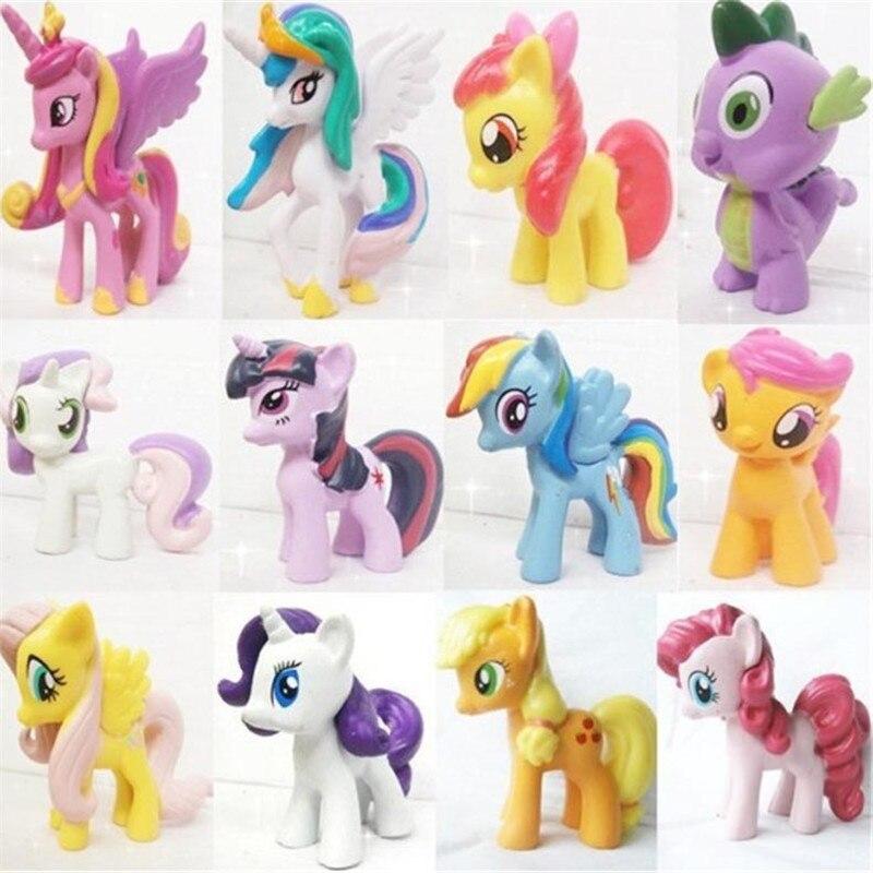 12 հատ / հավաքածու 3-5 սմ Cute Pvc ձի - Խաղային արձանիկներ - Լուսանկար 2