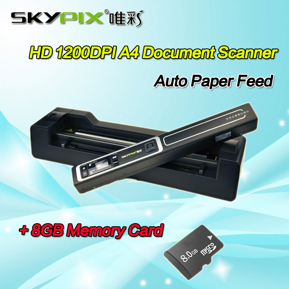Skypix TSN450+A02 Auto Scanner A4 Size JPEG/PDF Image Document Scanner 1200 DPI HD A4/A5 Portable Scanner W/8GB MicroSD Card skypix tsn470 a02 hd 1050dpi portable a4 document scanner jpg pdf file scanner with stand and free 8gb sd card