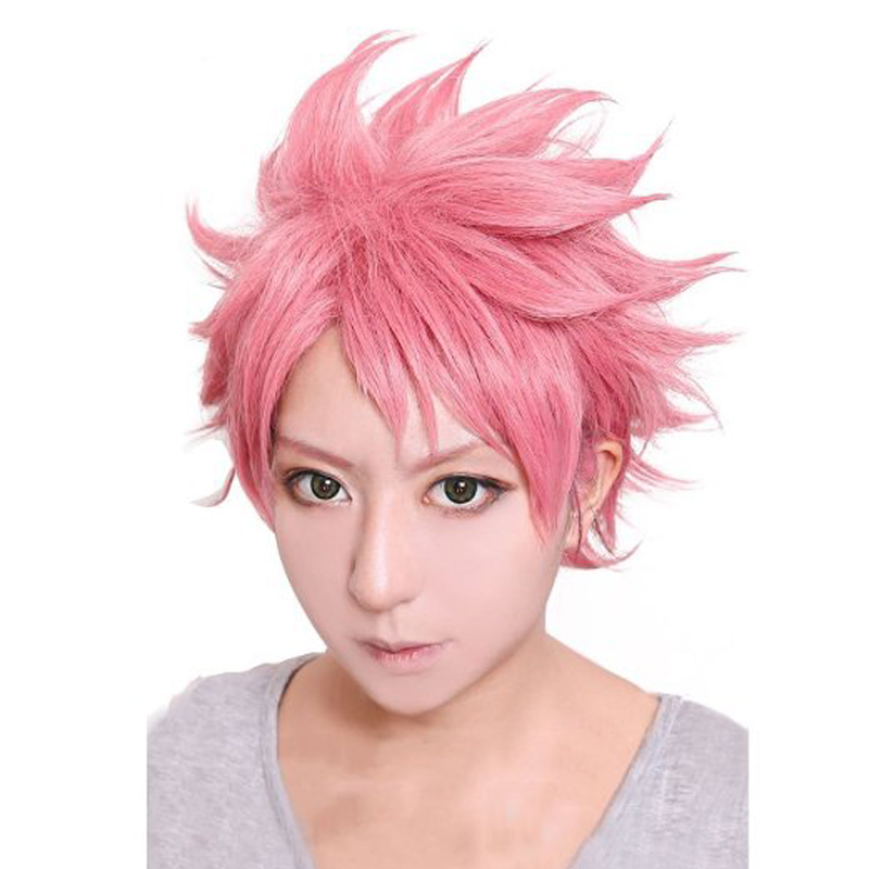 Anime Fairy Tail Natsu Dragneel wig 30cm Short Fluffy Layered Cosplay Wig Unisex Pink Synthetic Halloween Party Wigs + wig cap