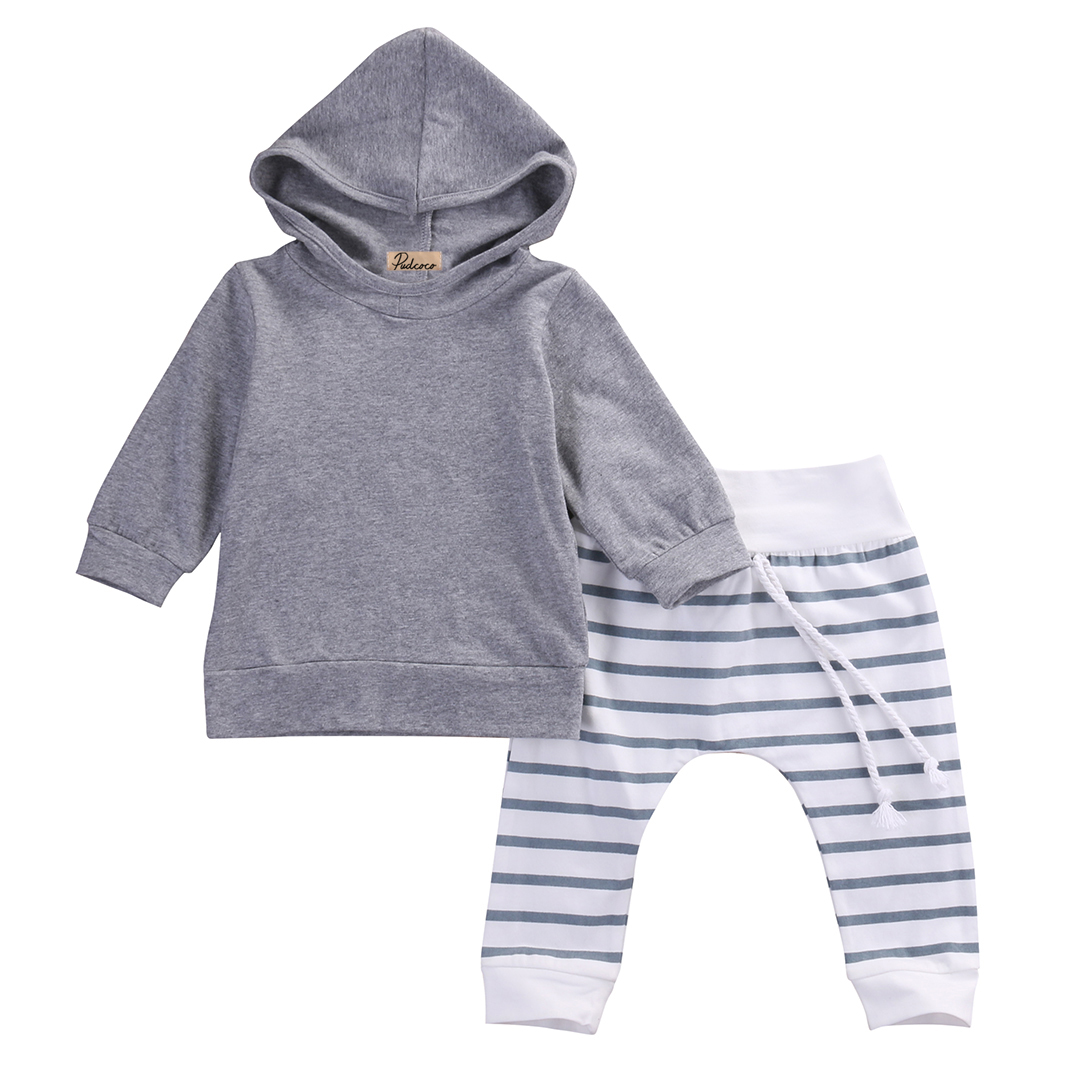 2pcs Kid Baby Boy Cotton Outfits Clothes Long Sleeve Gray Sweatshirt Hooded Coat Tops+Striped Pants Outfit Set Children Clothing