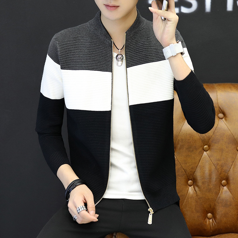 2018  Men's Sweater Slim Cardigan Zipper Leisure Coat Stripes Long Sleeve Size M--XXL