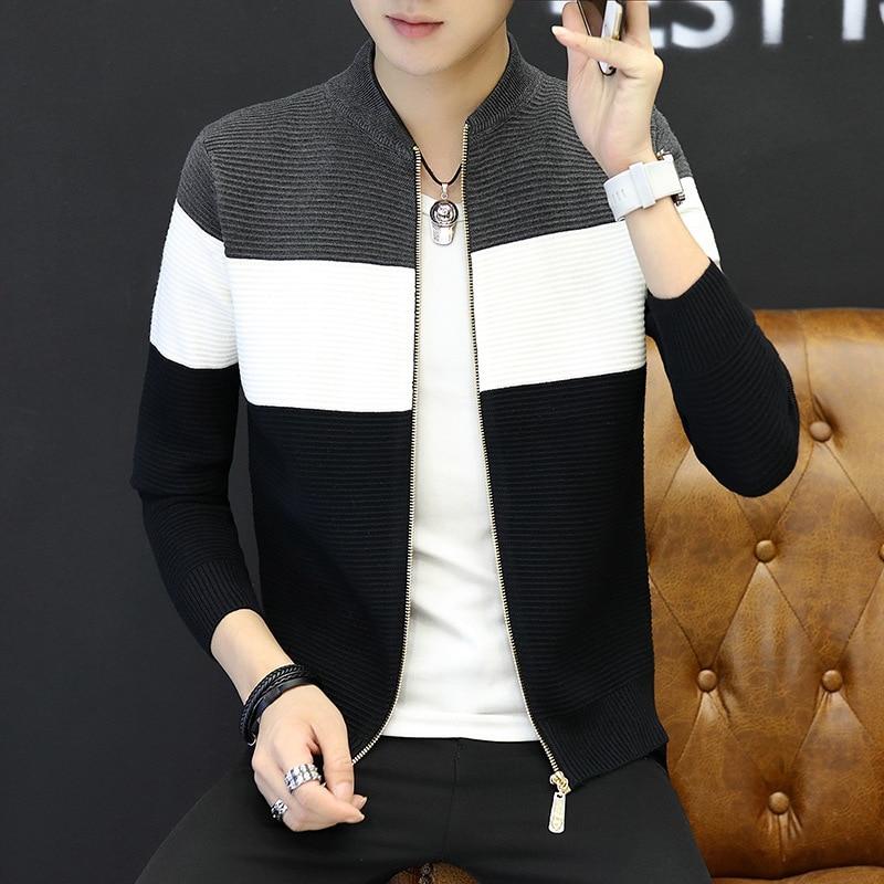 2018  Men's Sweater Slim Cardigan Zipper Leisure Coat Stripes Long Sleeve Size M--XXL