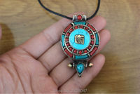 PN098 Tibetan Antiqued Mantra OM Prayer Box Pendant Nepal Handmade Copper Turquois E Coral Beads 32mm
