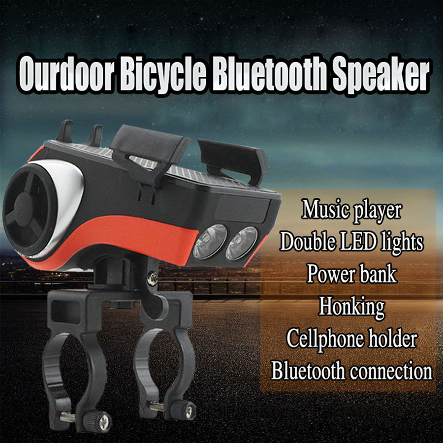 Multi-function Bluetooth Bicycle Speaker Cycling LED Bluetooth Portable Speaker 3D stereo with /Phone Bracket/Power Bank
