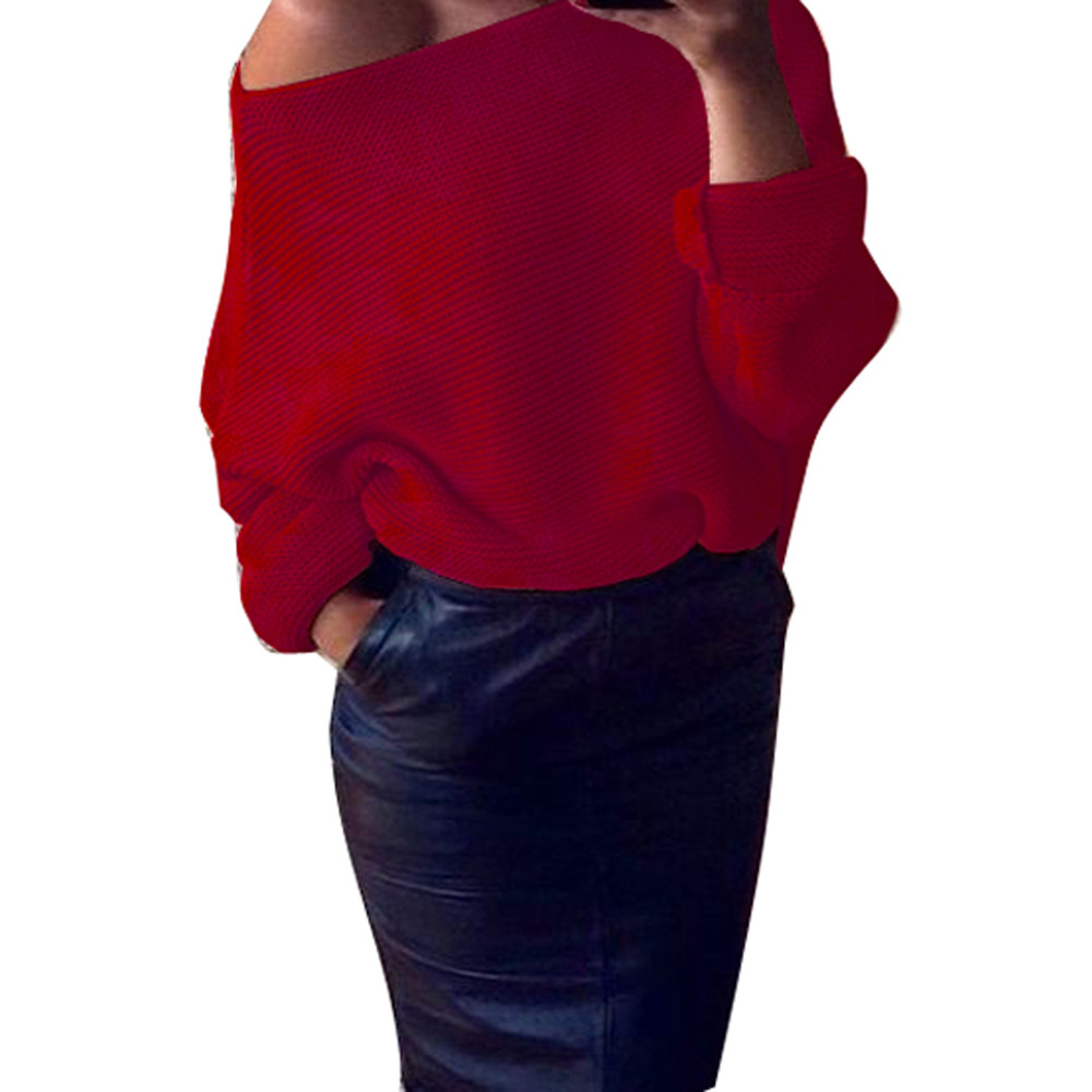 Autumn Winter Oversize Women's Sweaters Off Shoulder Chunky ...