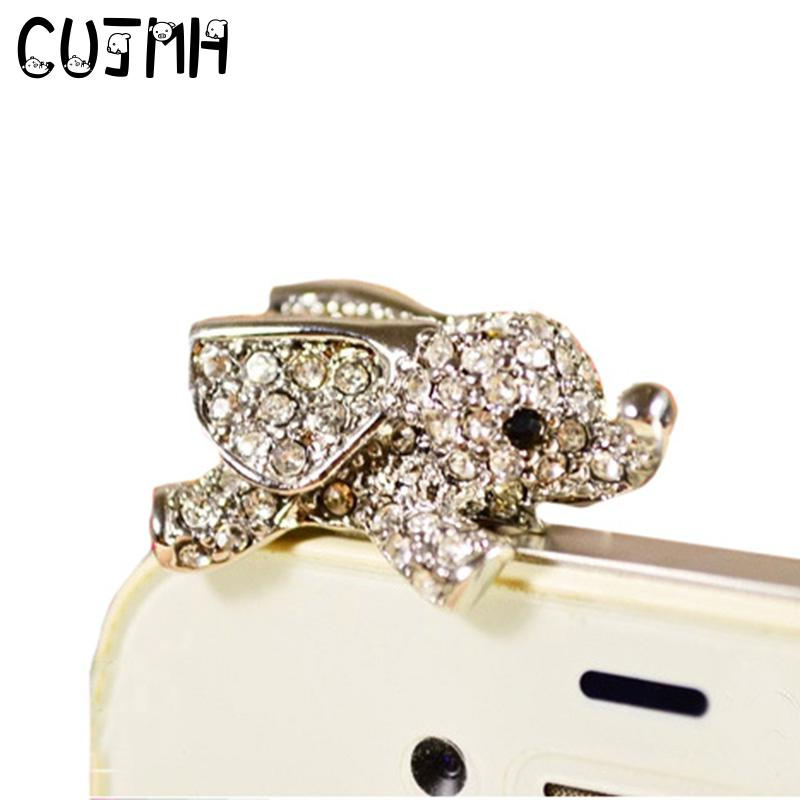 CUJMH 3.5mm Earphone Jack Plug Universal Mobile Phone Accessories for Women Elephant Shape Rhinstones Dust Plug Caps Gold Silver