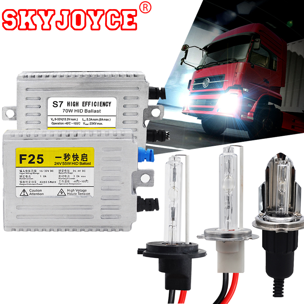 SKYJOYCE 24V Truck Headlight hid xenon kit 55W 70W H4 bixenon H7 4300K 5000K 6000K H1 8000K Super Bright 24V Van Boat Lamp bulb steampunk loft 4 color iron water pipe retro wall lamp vintage e27 e26 sconce lights for living room bedroom restaurant bar
