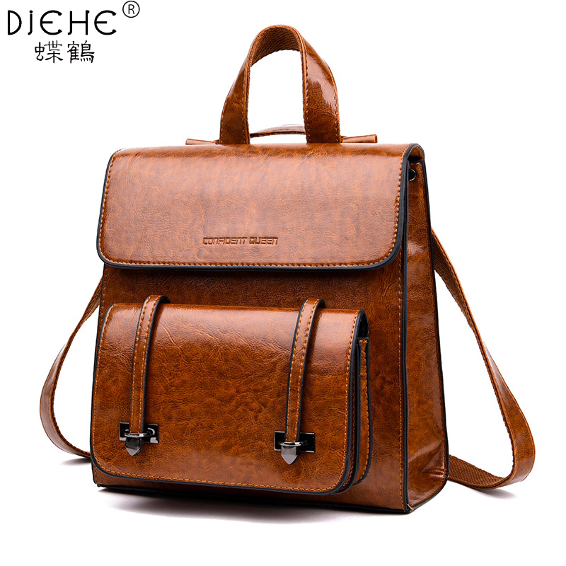 PU Leather Women Backpacks for Female Oil Wax Vintage Backpack Leather Fashion Ladies Double Shoulders Bags Girl School BackpackPU Leather Women Backpacks for Female Oil Wax Vintage Backpack Leather Fashion Ladies Double Shoulders Bags Girl School Backpack
