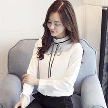 New Fashion Women Sweet Wind Long Sleeve Slim Stand Collar Tie Bow Chiffon Shirts Blouses